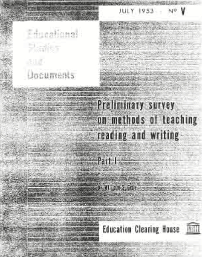 Preliminary survey on methods of teaching reading and