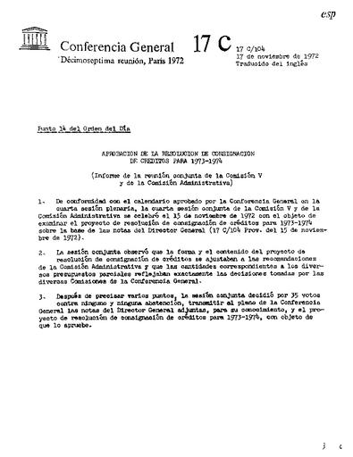 Calendario 1973.Adoption Of The Appropriation Resolution For 1973 1974