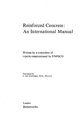 Reinforced concrete: an international manual - UNESCO