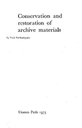 Conservation and restoration of archive materials - UNESCO