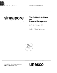 The National Archives And Records Management Singapore Mission 15 April 14 August 1967 Unesco Digital Library