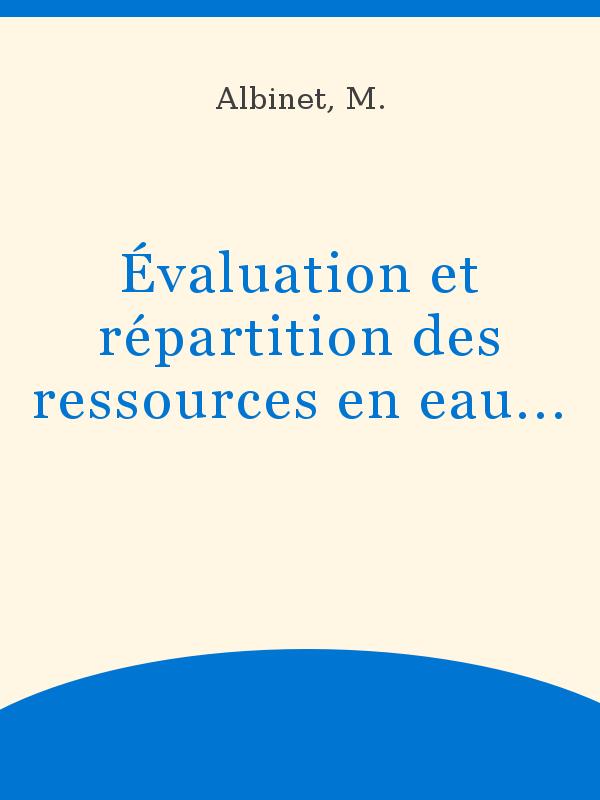 Evaluation Et Repartition Des Ressources En Eaux D Une
