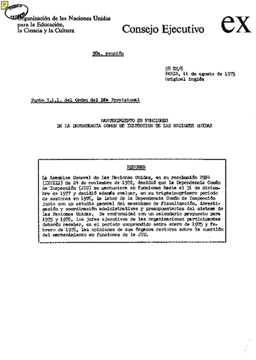 Calendario Del 1977.Continuation Of The United Nations Joint Inspection Unit