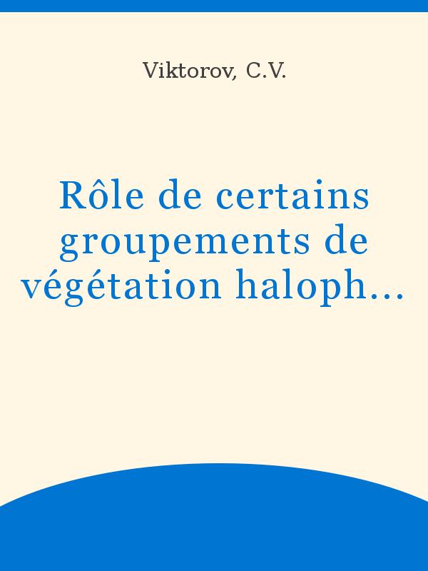 Rôle de certains groupements de végétation halophile et ... on