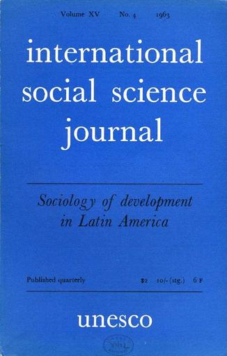 International social science journal, XV, 4 - UNESCO Digital