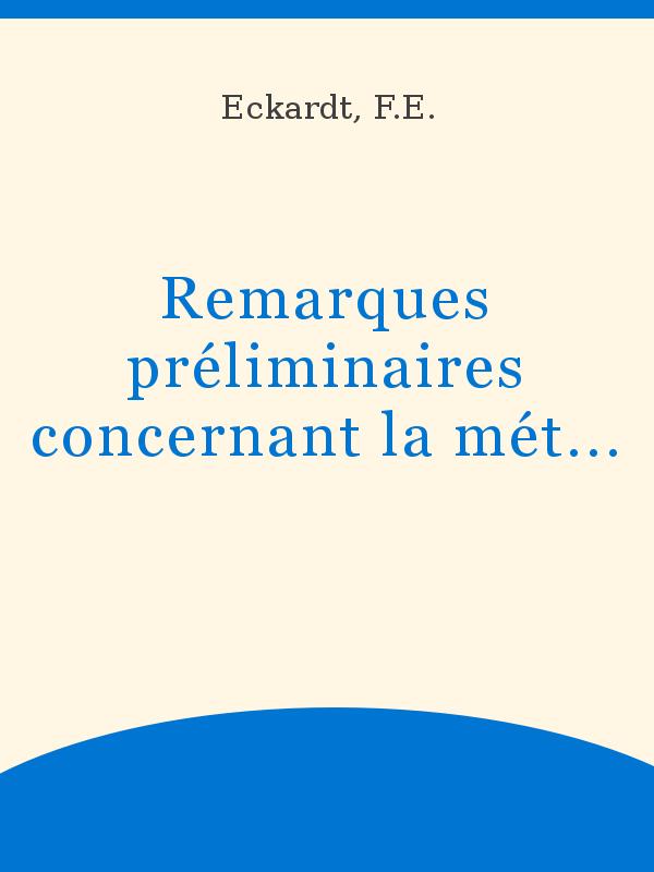 Remarques Préliminaires Concernant La Méthodologie De Léco