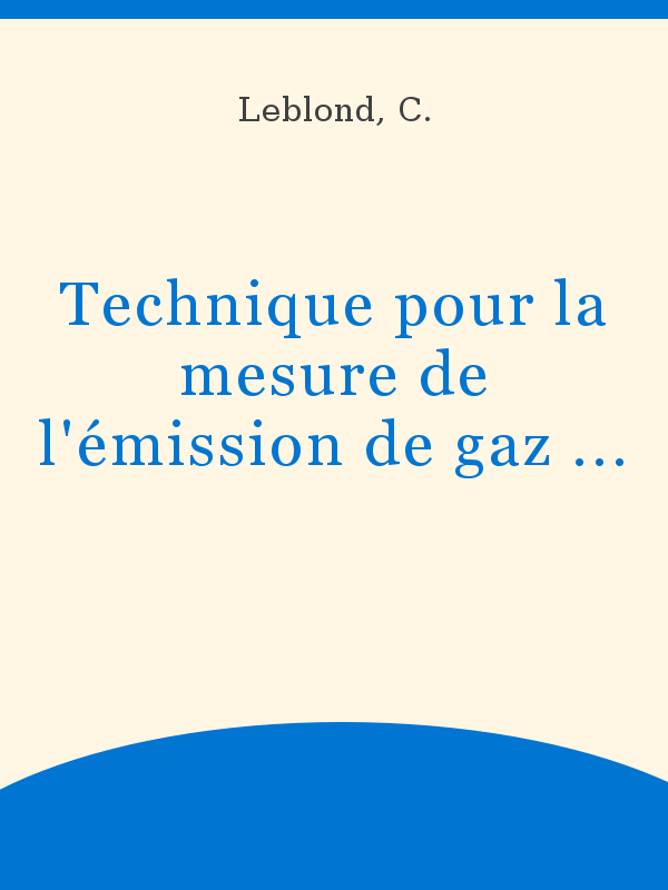 Technique Pour La Mesure De Lémission De Gaz Carbonique Par