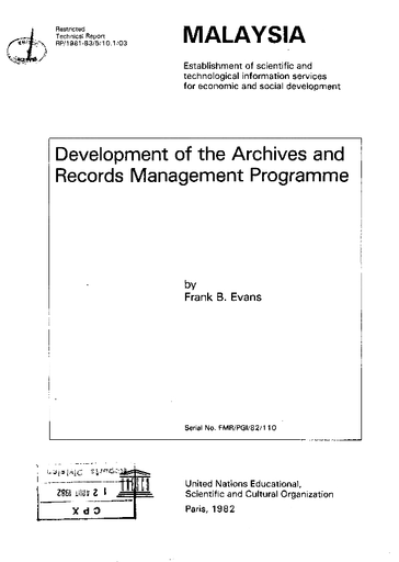 Development Of The Archives And Records Management Programme Malaysia Mission Unesco Digital Library