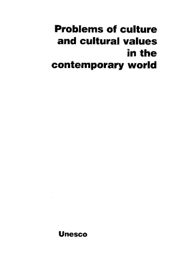 Problems Of Culture And Cultural Values In The Contemporary