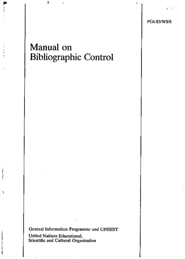 Manual on bibliographic control - UNESCO Digital Library