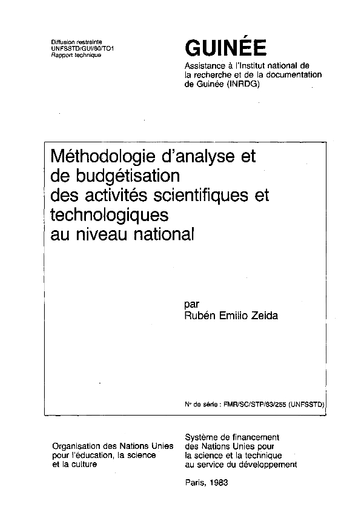 Methodologie D Analyse Et De Budgetisation Des Activites Scientifiques Et Technologiques Au Niveau National Guinee Mission Unesco Digital Library