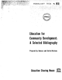 Education for community development: a selected bibliography