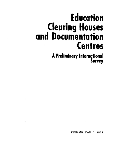 Education clearing houses and documentation centres: a
