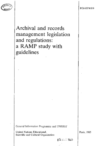 Archival and records management legislation and regulations