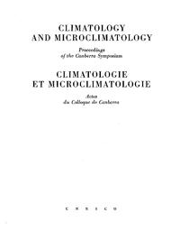 Climatology And Microclimatology Proceedings Unesco