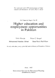 Higher Education And Employment Opportunities In Pakistan Unesco Digital Library