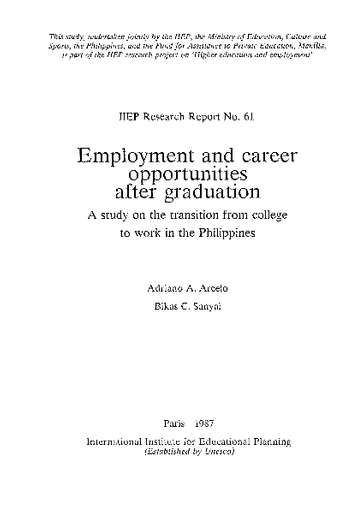 Employment And Career Opportunities After Graduation A Study On The Transition From College To Work In The Philippines Unesco Digital Library