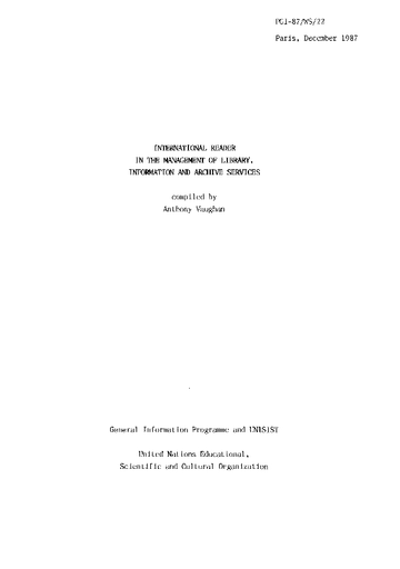 International Reader In The Management Of Library