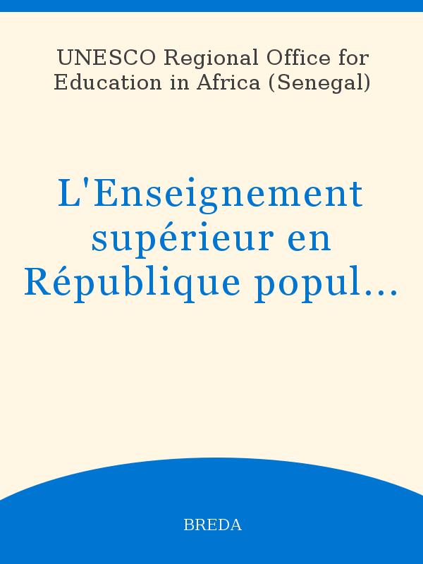L Enseignement Supérieur En République Populaire Du Congo