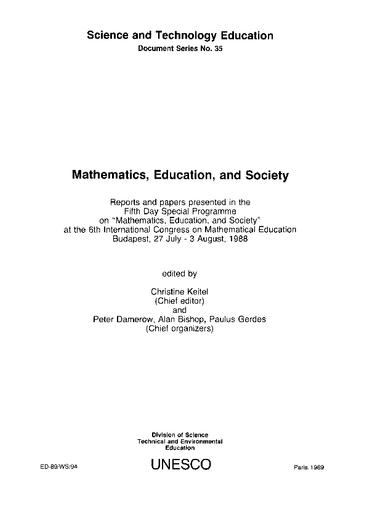 Mathematics Education And Society Unesco Digital Library