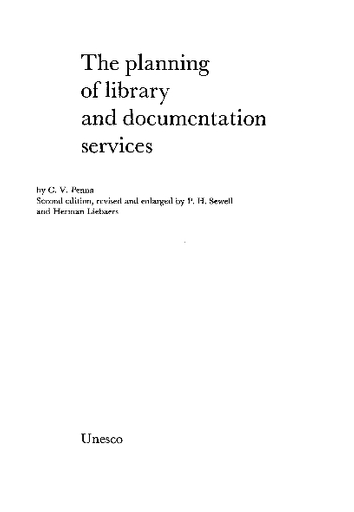 The Planning of library and documentation services - UNESCO