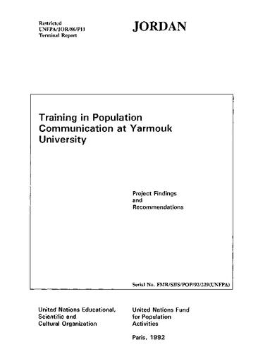 Training in population communication at Yarmouk University