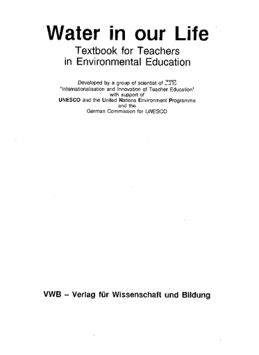 Water In Our Life Textbook For Teachers In Environmental Education Unesco Digital Library