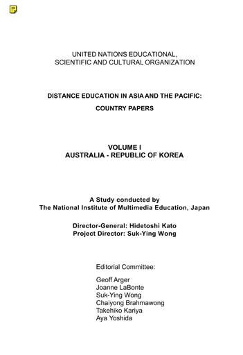 Distance Education In Asia And The Pacific Country Papers Unesco Digital Library