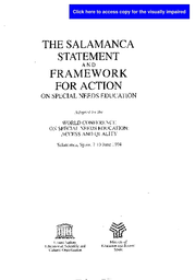 Special Education More Flexible >> The Salamanca Statement And Framework For Action On Special