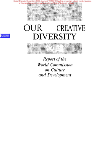 Our Creative Diversity Report Of The World Commission On Culture And Development Unesco Digital Library