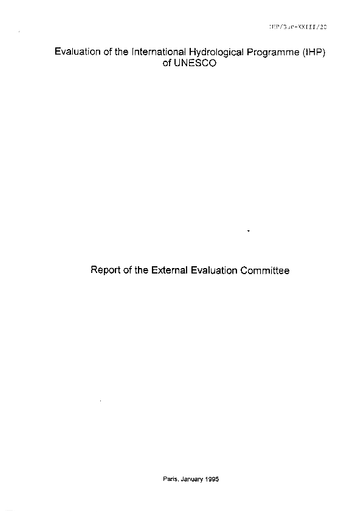 Report of the External Evaluation Committee (of the IHP