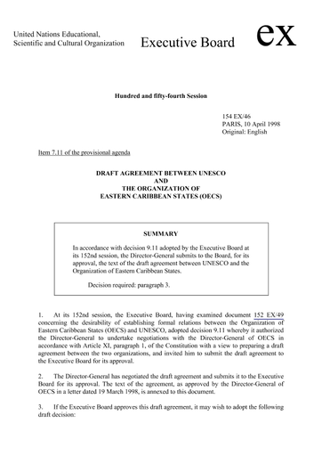 Draft Agreement Between Unesco And The Organization Of Eastern