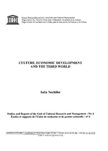 Culture, economic development and the Third World - UNESCO