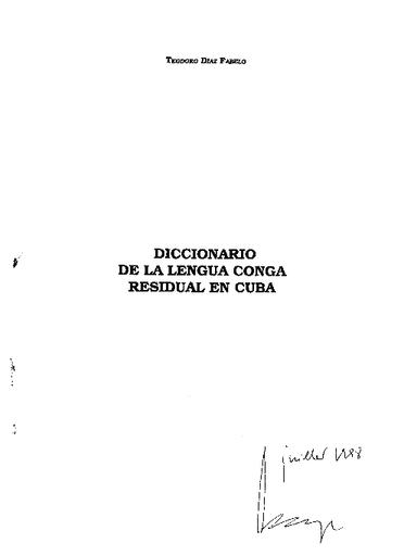 Diccionario de la lengua conga residual en Cuba - UNESCO