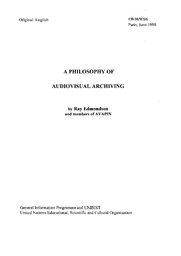 A Philosophy Of Audiovisual Archiving Unesco Digital Library