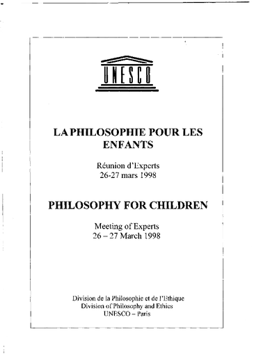 Philosophy For Children Report Unesco Digital Library Philosophie Et Religion Dissertation