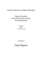 Higher Education In The Twenty First Century Vision And Action V 1 Final Report Unesco Digital Library
