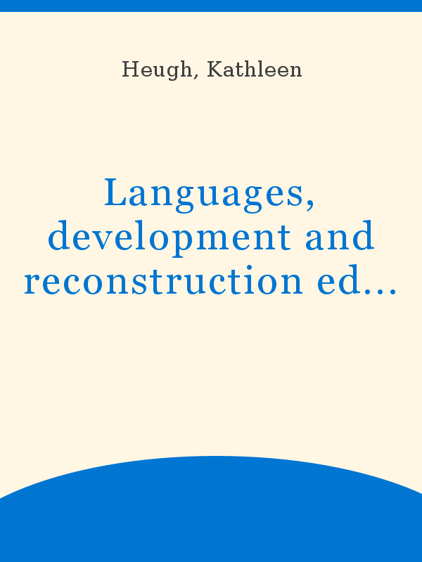 Languages, development and reconstruction education in South