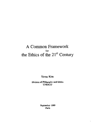 A Common Framework For The Ethics Of The 21st Century Unesco Digital Library
