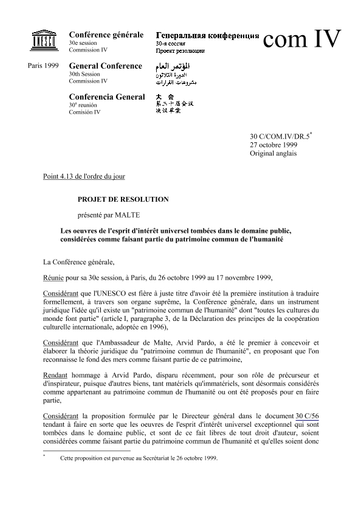 Draft Resolution Submitted By Malta Intellectual Works Of