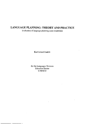 Language Planning Theory And Practice Evaluation Of Language