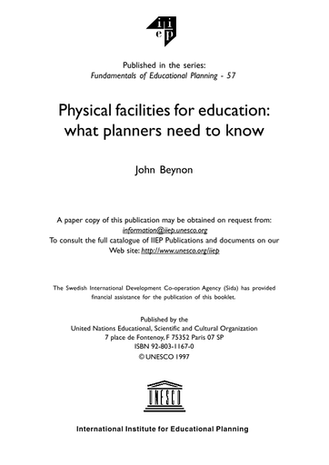 Physical Facilities For Education What Planners Need To Know Unesco Digital Library