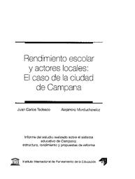 Rendimiento Escolar Y Actores Locales El Caso De La Ciudad