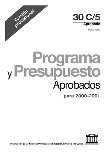Programa Y Presupuesto Aprobados Para 2000 2001 Versión