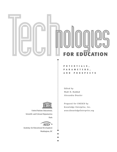 Technologies for education: potentials, parameters, and