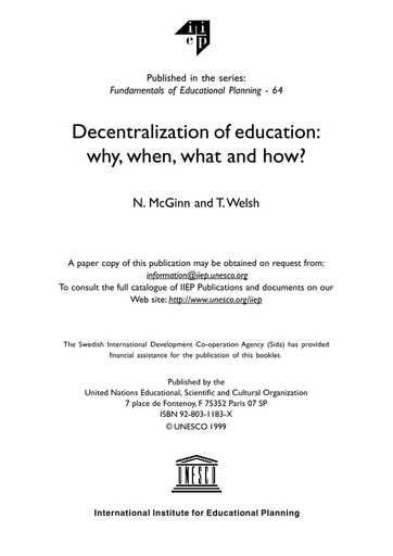 decentralization of education why when what and how   unesco  close