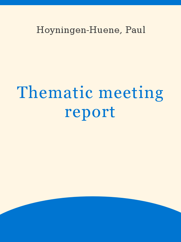 Thematic Meeting Report Unesco Digital Library