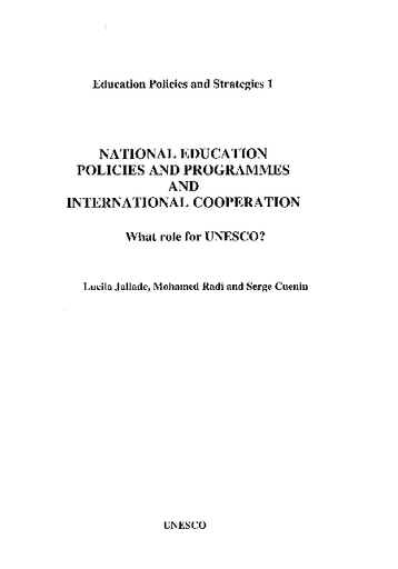 National education policies and programmes and international