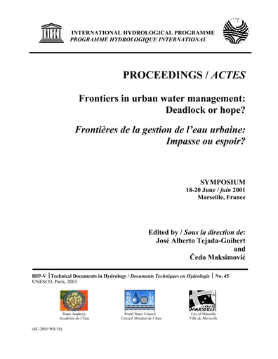 Frontiers In Urban Water Management Deadlock Or Hope Proceedings