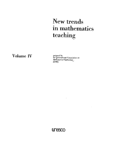 New trends in mathematics teaching, v  4 - UNESCO Digital